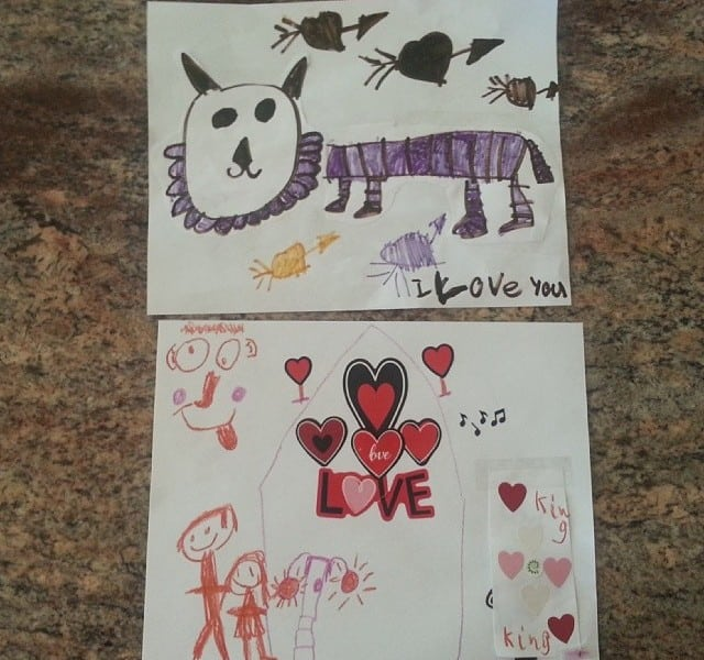 Top one is Bella's work, bottom one is Livvie's. Happy Poppa!