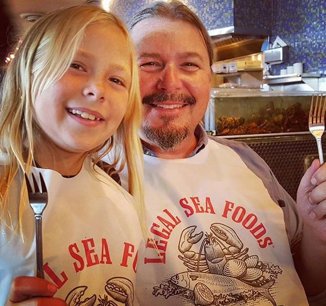 Bella and I treading our lunch (note the lobster tank behind us). So naughty.