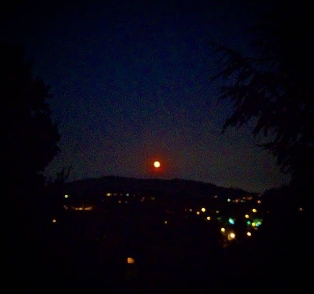 Straight up orange moonrise out there tonight. Giving thanks to firefighters everywhere.